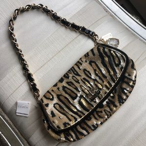 🎉HP🎉COACH Amanda Leopard Sequin Flap Clutch NWT